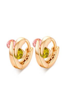 Kétkristályos vidám kis karika fülbevaló gold