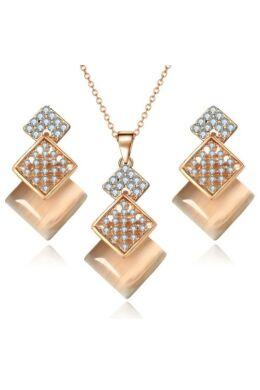 Csillogó négyzetek ékszer szett gold