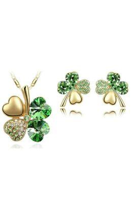 Szerencse szett zöld  Swarovski kővel gold