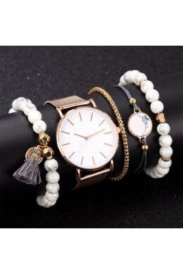 Cadenza női óra karkötőkkel rosegold-white