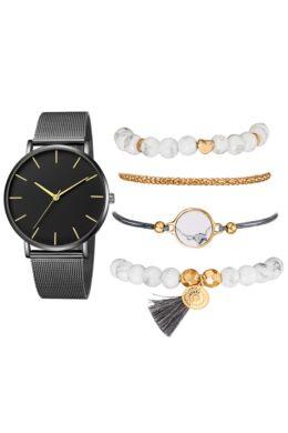Cadenza női óra karkötőkkel black-gold