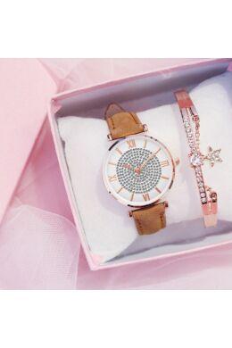Camila női óra karkötővel brown-rosegold