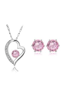 Szívben kristály szett pink