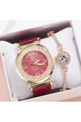 Cammeo női óra karkötővel sötét rózsaszín