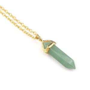 Ásvány függős nyaklánc arany zöld aventurin