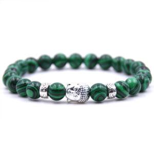 Buddhás ásványi karkötő zöld malachit