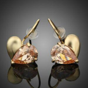 Smoon arany-borostyán szív fülbevaló