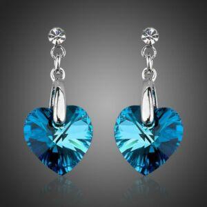 Smoon blue heart fülbevaló