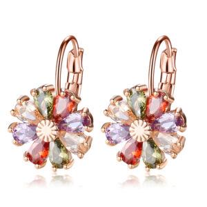 Színes virág kapcsos fülbevaló rosegold