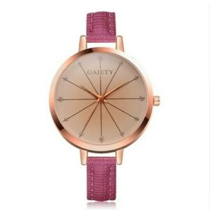 Linda női vékony bőrszíjas óra rózsaszín