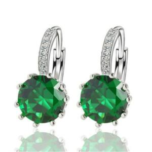 Smaragdzöld pötty kapcsos fülbevaló