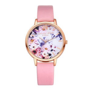 Virágszirmos óra rosegold-pink