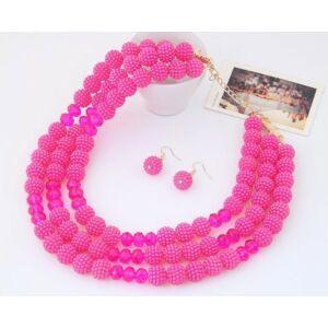 Három soros pink gyöngyös ékszer szett