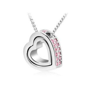 Kis szív - nagy szív nyaklánc rózsaszín