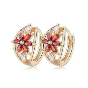 Smoon Luxury Flores red-gold fülbevaló