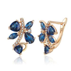 Kék Swarovski kristályos pillangó fülbevaló