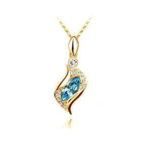 Csavart nyaklánc Swarovski kristállyal gold-tengerkék
