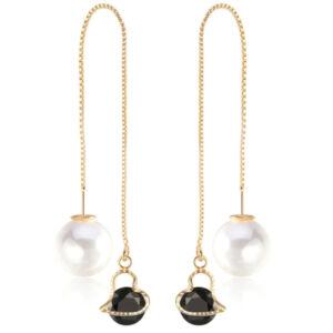 Variálható Swarovski szív és gyöngy fülbevaló gold-black