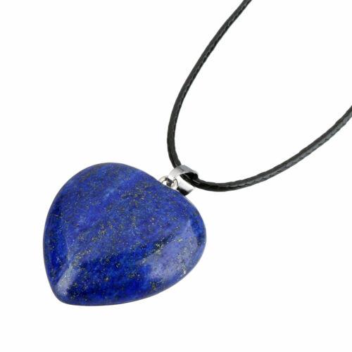 Ásvány szív medál bőr láncon lápisz lazuli