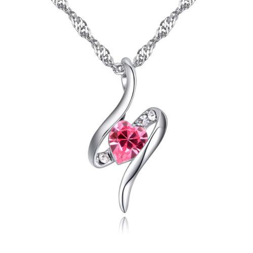 Táncoló Swarovski szív kristály nyaklánc pink