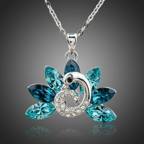 Smoon kék kristálypáva nyaklánc