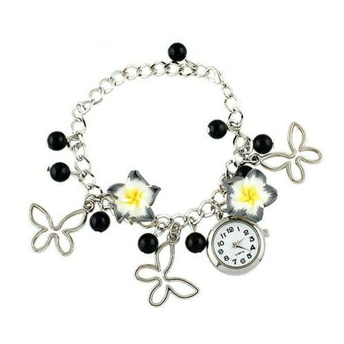Karkötő óra gyöngy, lepke és virág dísszel fekete