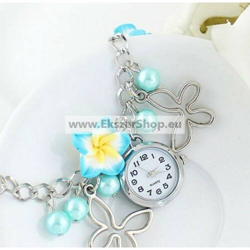 Karkötő óra gyöngy, lepke és virág dísszel kék