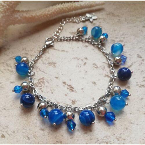 Kék achát láncos karkötő