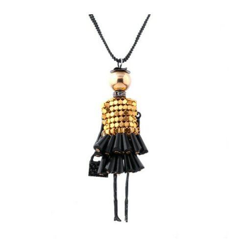 Shopping lady arany-fekete hosszú nyaklánc