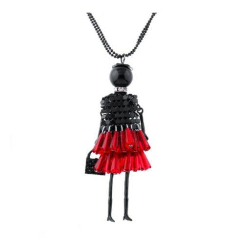 Shopping lady piros-fekete hosszú nyaklánc