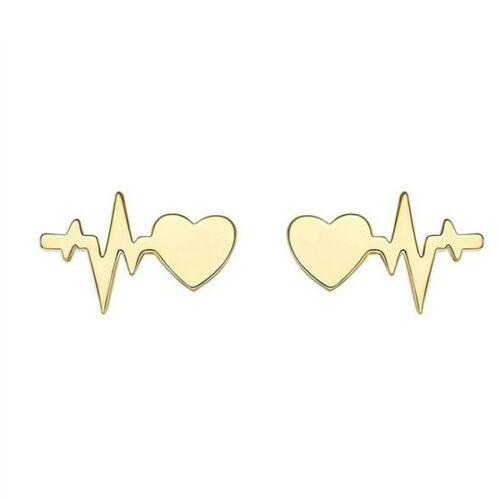 Szív és életvonal fülbevaló gold
