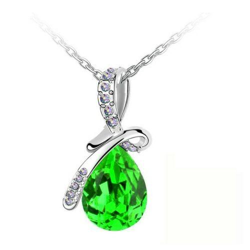 Csepp szalaggal nyaklánc zöld