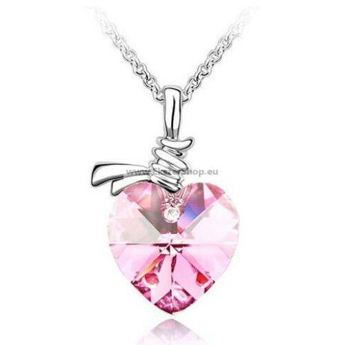 Nyaklánc halvány rózsaszín Swarovski szívvel