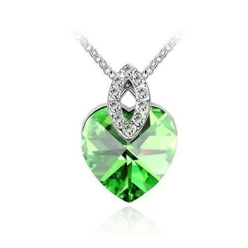 Zöld Swarovski szív medálos nyaklánc