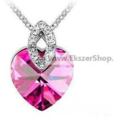 Rózsaszín Swarovski szív medálos nyaklánc