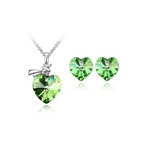 Zöld Swarovski szív szett