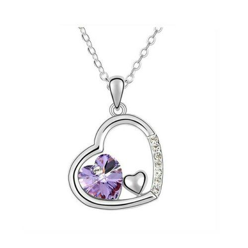 Tripla szív nyaklánc lila