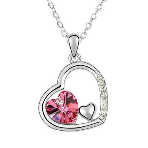 Tripla szív nyaklánc pink