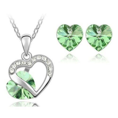 Szíves szett 9556 zöld  Swarovski szívvel