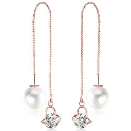 Variálható Swarovski szív és gyöngy fülbevaló rosegold