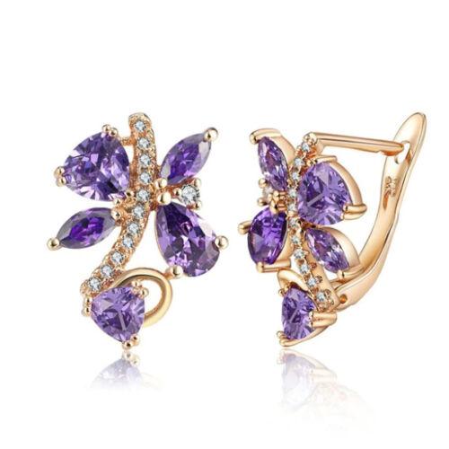 Lila Swarovski kristályos pillangó fülbevaló