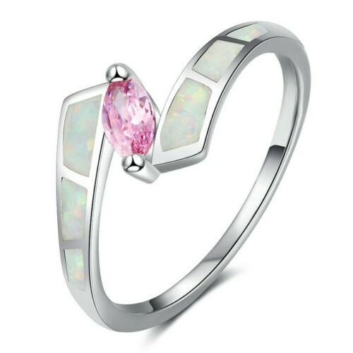 Opál gyűrű rózsaszín kristállyal 51,8 mm