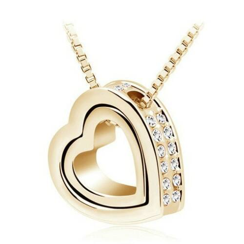 Kis szív - nagy szív nyaklánc gold-white