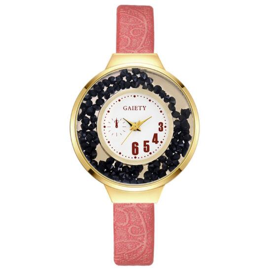 Mozgó kristályos elegáns női óra rózsasízn