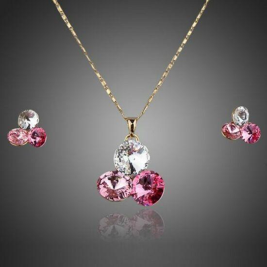 Smoon csillogó rózsaszínes ékszer szett