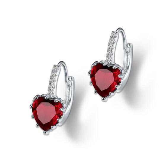 Kapcsos szív fülbevaló piros