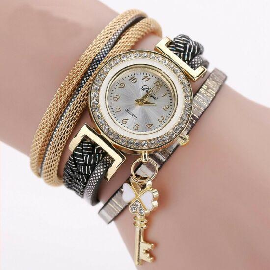 Csillogó mozaikos óra fekete-arany