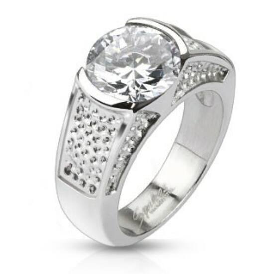Elegáns nagy köves nemesacél gyűrű