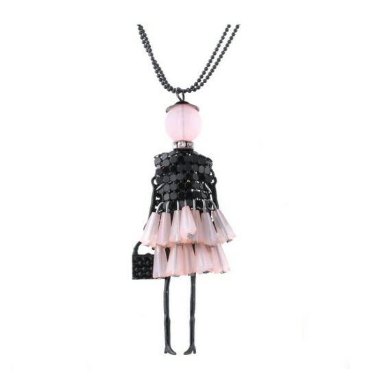 Shopping lady rózsaszín-fekete hosszú nyaklánc