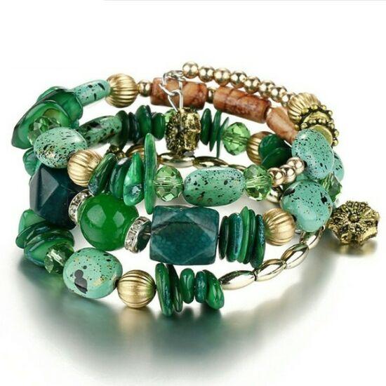 Chiara exkluzív karkötő smaragdszín